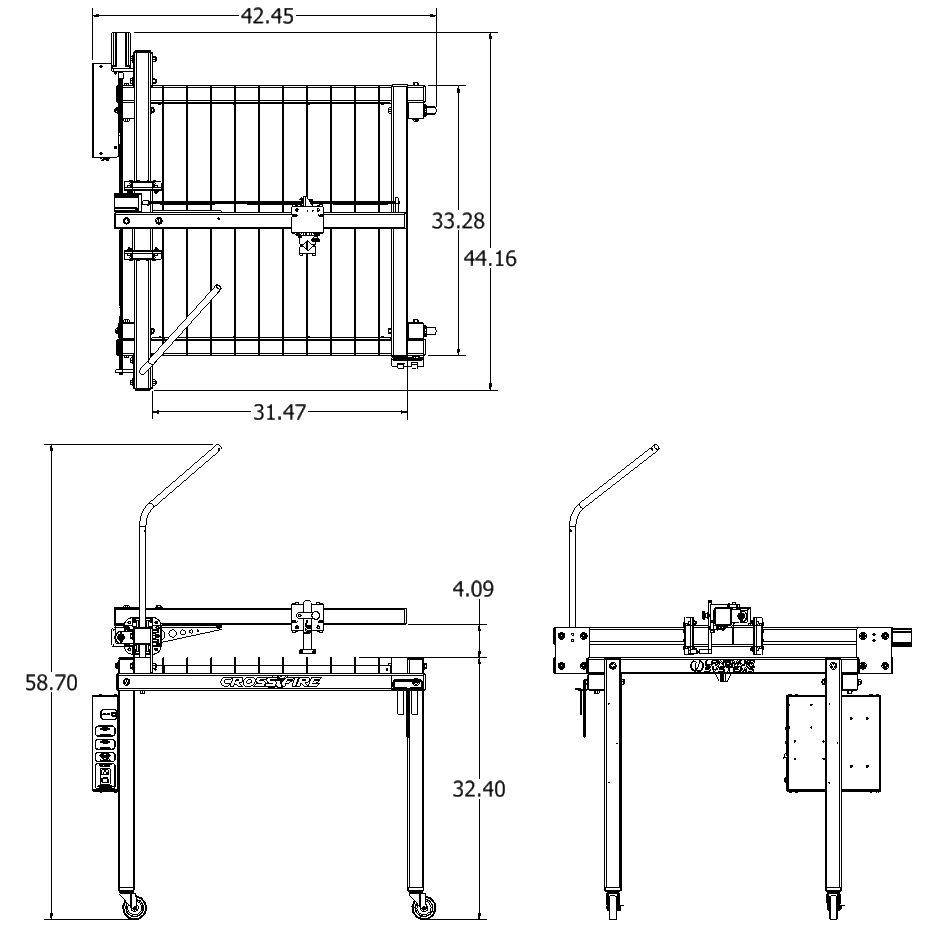 The schematic below shows the overall floor space and height requirements  that are needed to operate this machine. All dimensions shown are in inches.